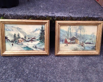 Florentia Hand Made In Italy Wood Framed Prints Country Scenes Winter People 1930 Set of 2 5 x 7