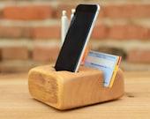 SALE Wooden organizer iPhone 6 station Handmade wood iPhone Holder Office organizer