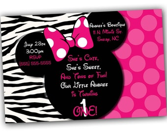 Custom Pink Zebra Minnie Mouse Invitation OR Thank you card