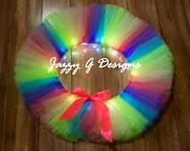 Tropical Rainbow LED Light Up Tutu-Adult Tutu-Rave Tutu-Rainbow Rave Tutu-Adult Rainbow Tutu