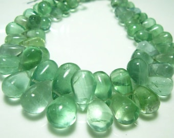 "Green Flourite Smooth Tear Drops- 8"" Strand -Stones measure- 8x6-13x8mm"