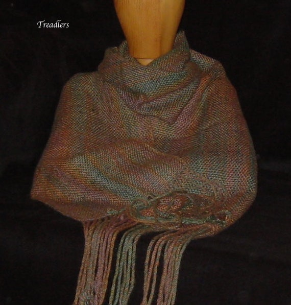 Fall Colors Cashmere & Silk Scarf - Handwoven of Handspun Yarn - Hand Woven - Scarf for Men - Scarf for Women - Winter Accessory - Warm Gift