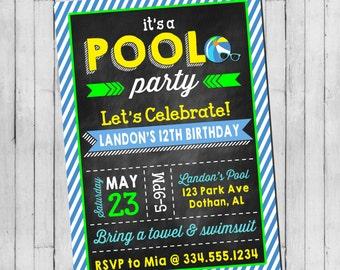 Pool Party Birthday Invitation | Boy Teen Pool Party | Beach Party | Teen Beach Party | Digital Invitation