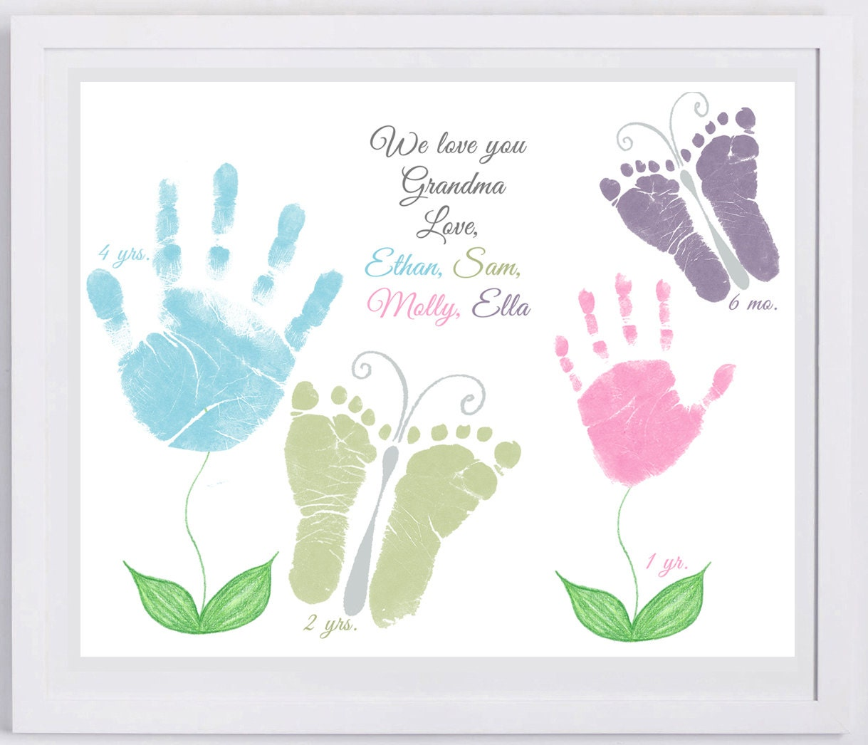 11x14 flower and butterflies handprint art by forever for Hand and feet painting ideas