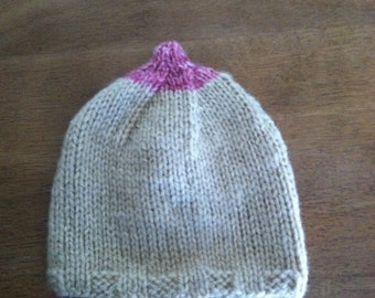 Baby Hat. Breast feeding. Boob. Baby. Hat. Knitted. Handmade. Gift. Newborn. Yarn