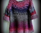 SWEATER WOMENS KNITTED Pullover  Hand knit   BoHo Chunky Mixed colors Loose Knit Hand Made  Oversized