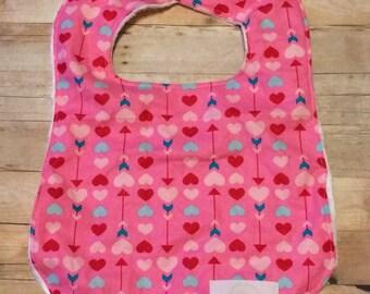 Valentine bib, heart bib, pink bib, cupid bib