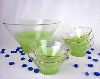 Vintage 50s 60s Salad and Serving Bowls, Blendo, West Virginia Glass