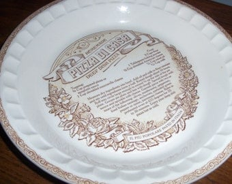 Vintage Pizza Cooking Deep Dish Pie Dish with Recipe Plate