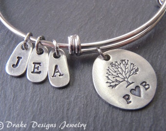 family tree personalized family bracelet bangle Mothers Day family tree