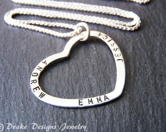 Sterling silver mom necklace with kids names mommy necklace