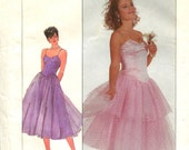 Simplicity 8016 Size 12 Bust 34 Strapless Dress Pattern Fitted Bodice Dropped Waist Circular Net or Tulle Skirt 1980s Uncut