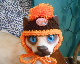 Crocheted Cat or Dog Hats with Pompom Cleveland Browns Football Sports Team