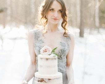 "FINAL SALE Lace wedding dress ""Grace"", grey wedding gown, bridal dress, wedding lace dress"