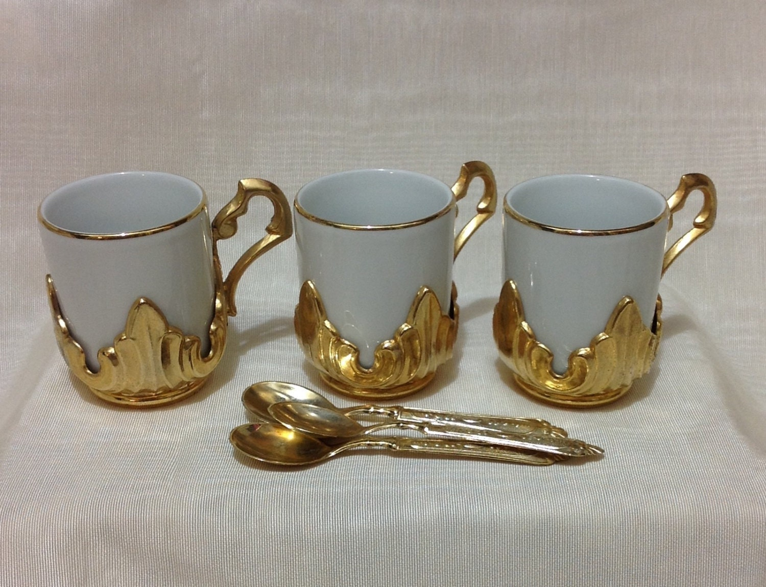 Set Of Three Ipa Italian Espresso Coffee Cups Matching Spoons