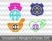 Monogram occupational decals nurse pharmacist police vet pharmacy tech vet tech law enforcement nursing hat badge stethoscope for car laptop