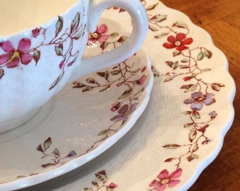 """Spode """"Wicker Dale"""" Teacup, Saucer and Salad Plate Trio"""