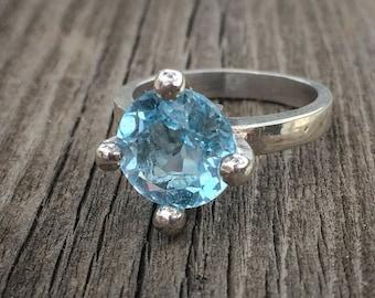 10mm Natural Sky Blue Topaz Ring , Silver Sky Blue Topaz Ring , Huge Blue Topaz Ring , Baby Blue Topaz