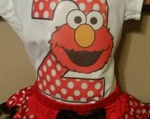 Elmo, birthday, tutu outfit