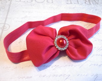 baby headband, baby girl headband, chiffon headband, red headband, bow headband, flower headband, christmas headband,  holiday headband