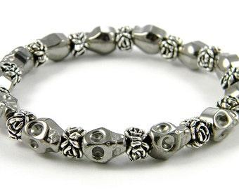 Hematite Day of the Dead Skull Bracelet (Dia De Los Muertos - All Saints Day)
