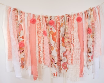 Shabby Chic Rag Banner Coral Banner Shabby Photography Prop Rustic Banner Chick Rag Banner Newborn Photo Prop Girland Backdrop Photo Prop