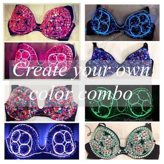 EDC Bright neon el wire bra with rhinestones in your choice