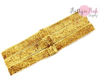 Gold GLITTER Interchangeable Headbands....Fold Over Elastic Headbands...FOE Headbands...Elastic headbands...Elastic...Glitter Elastic