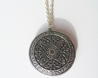 Round metal locket pendant necklace - metal flower locket jewelry - metal locket pendant - silver chain locket necklace
