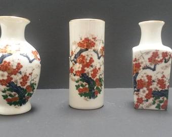 Vintage  Japanese Cabinet or Miniature Vases Set of Three