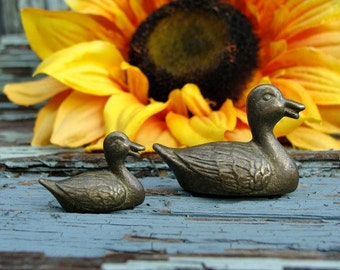 Miniature Ducks Wee Little Metal Pair
