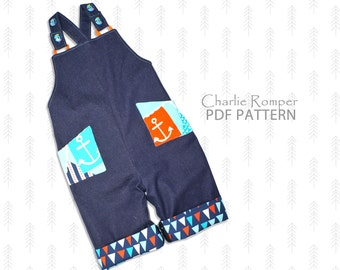 Baby sewing pattern PDF, Romper pattern, overall pattern, boys sewing pattern pdf,  boys pattern, baby pants pattern, boys pattern, CHARLIE