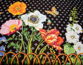 1 yard Botanika Paula  Prass OOP Michael Miller uncut yards Meadow Collection Quilt Black Garden Border Yardage available
