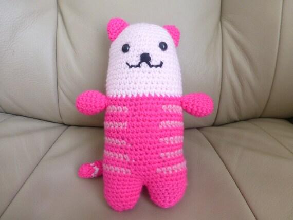Amigurumi cute pink striped cat