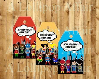 Superhero Favor Tags INSTANT DOWNLOAD, Printable File, Superhero Party, Superhero Birthday Party, Superhero Tags, Superhero Favor