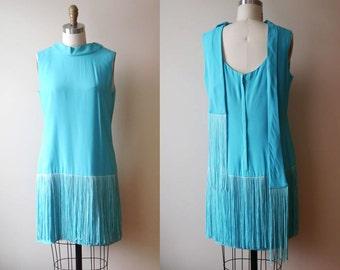 1960s Robin egg blue fringe dress // 1920s inspired // vintage dress