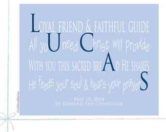 Custom First Communion Decor Religious Wall Art Inspirational Kids Unique Christian Gifts Personalized Gifts Name Art Poem 8x10 Lucas