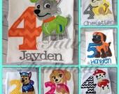 Paw patrol birthsay shirt, paw pups inspired  birthday shirt