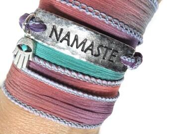 Namaste Silk Wrap Bracelet Bohemian Yoga Jewelry Hamsa Spiritual Bracelet Yoga Bracelet Buddhist Wrist Band Zen Ribbon Bracelet Unique Gift