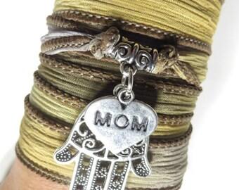 Mother's Day Silk Wrap Bracelet Hamsa Yoga Jewelry Bohemian Jewelry Boho Chic Silk Ribbon Wrap Wrist Band Yoga Mom Unique Birthday Gift