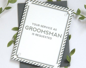 Will You Be My Groomsman Card | bridal party card wedding party card | Grey, Navy or Black