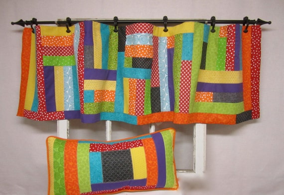 items similar to window curtains valence patchwork