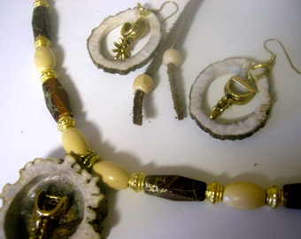 Original Art Piece Elk Horn Necklace with matching Earrings Gold Accent