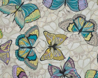 1 yard Linen-Valori Wells Cocoon Butterfly in Stonewash