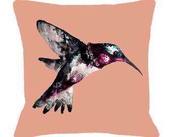 Hummingbird Illustration Cushion Cover - Bird Cushion Hummingbird Print,  Printed Cushion Bird Pillow