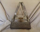 SALE!!!!Vintage Grey Pearl Lucite Handbag