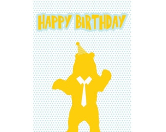 A6 Greeting Card - Happy Birthday Bear