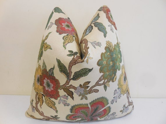 Blue Green Red Brown Yellow Pillow Cover Floral By
