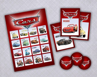 Disney Cars Printable Birthday Party Bingo Game
