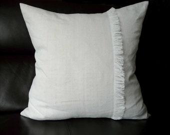 "Linen cushion cover, pillowslip, scatter decorative cushion, handmade from vintage handwoven organic linen 24"" x 24"""